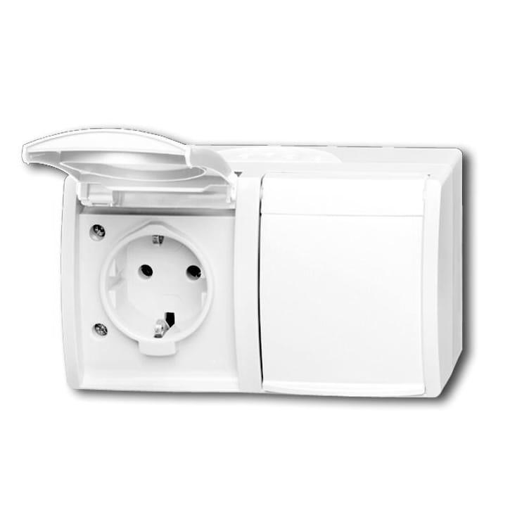 abb busch jaeger ocean ip44 wandcontactdoos 20 2 ew 54. Black Bedroom Furniture Sets. Home Design Ideas