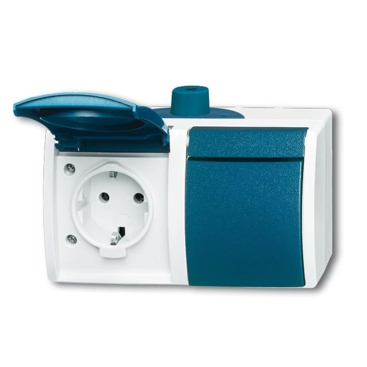 abb busch jaeger ocean ip44 wandcontactdoos 2084 0 0705. Black Bedroom Furniture Sets. Home Design Ideas