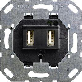 gira basiselement usb wandcontactdoos 235900 zwart. Black Bedroom Furniture Sets. Home Design Ideas