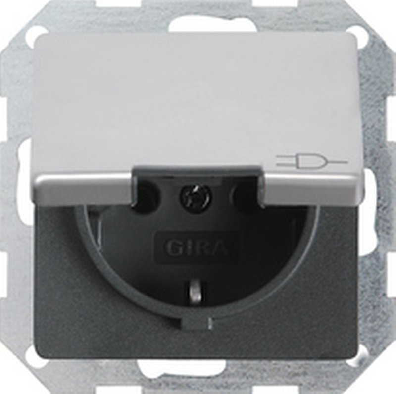 gira e22 wandcontactdoos 0454203 aluminium. Black Bedroom Furniture Sets. Home Design Ideas