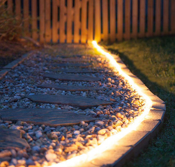 LED strip in de tuin