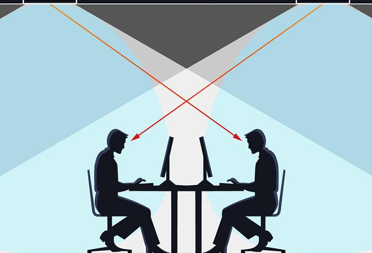 Illustratie van belichting op kantoor