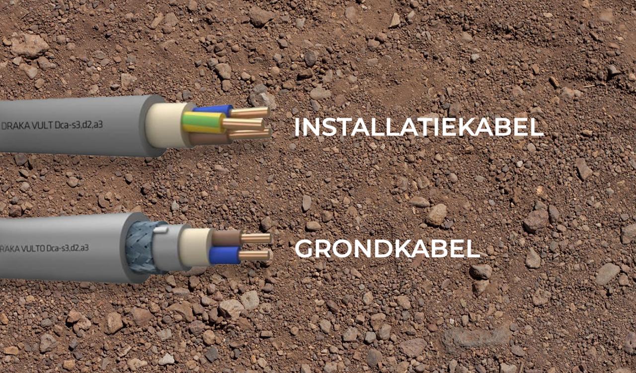 Illustratie van een installatiekabel en grondkabel